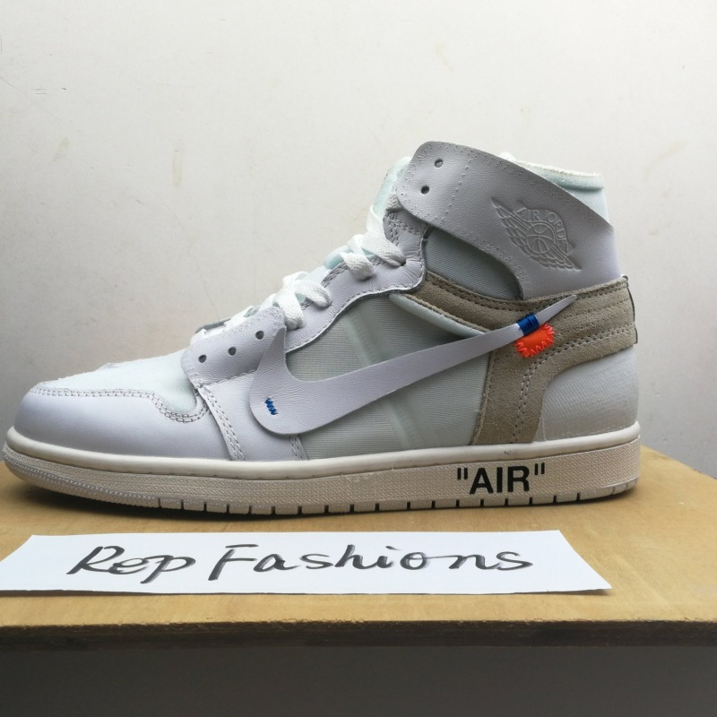 wholesale dealer 08098 a9898 OFF White x Nike Jordan 1 Replica Triple White