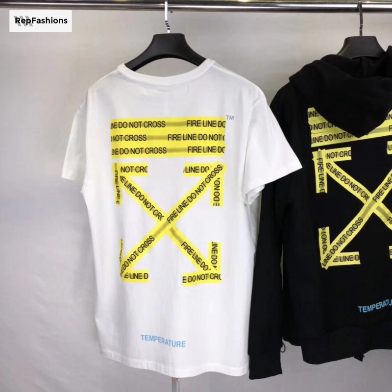 b4ee687a7c4 Best Cheap Rep Off White Fire Tape T Shirt For Sale — RepFashions