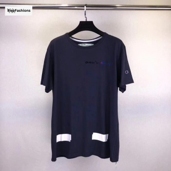 Off White x Champion Blue T Shirt (1)