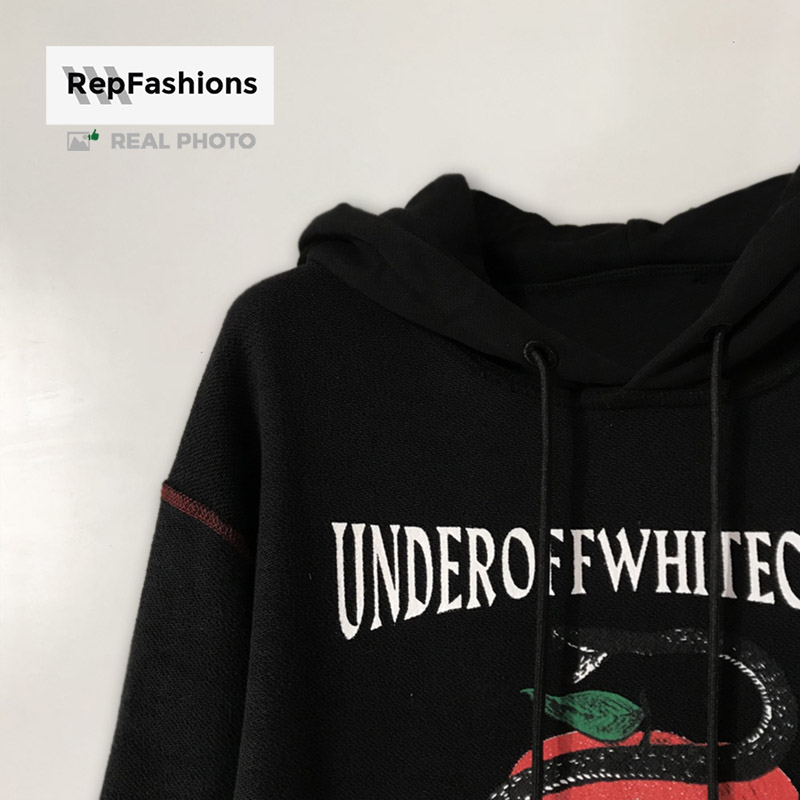 Off White undercover skeleton RVRS pullover black hoodie body front part stitching