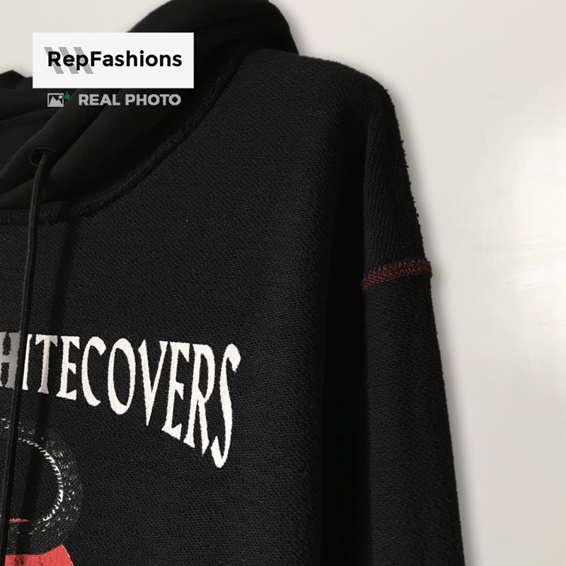 Off White undercover skeleton RVRS pullover black hoodie inner shoulder red stitching
