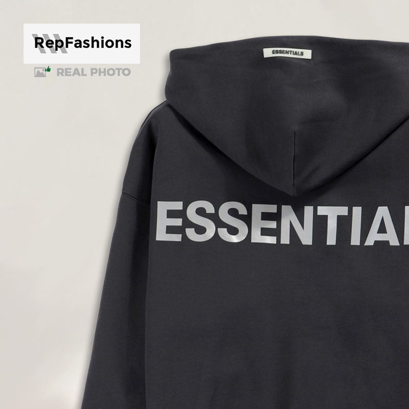 Quality fear of god essentials black 3m hoodie 20ss